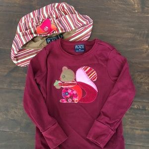Girls Hat and Top Set Squirrel Pattern Size 4T